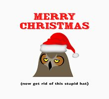 Annoyed Owl Wearing a Christmas Hat Unisex T-Shirt