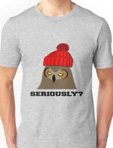 Annoyed Owl Wearing a Red Beanie Unisex T-Shirt