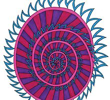 Spiked Striped Spiral (purple) T-shirt by KaySpike