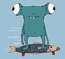 Funny cartoon monster longboarding  One Piece - Short Sleeve