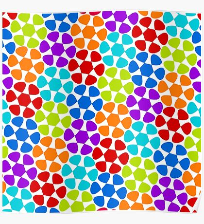 Multi-Colored Flower Pattern Poster