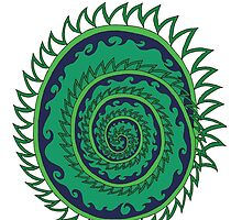 Spiked Wavy Spiral (green) Girl T-shirt by KaySpike