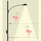 PINK FLAMINGOS ON A WIRE by JazzberryBlue