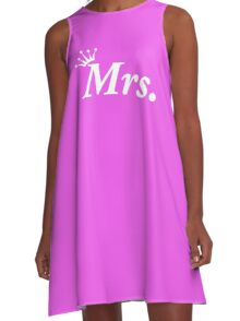 Mr Mrs Wedding Honeymoon Bride Newly Wed Tiara A-Line Dress