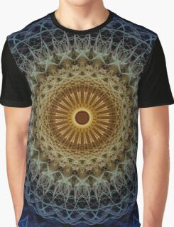 Mandala in blue and amber tones Graphic T-Shirt