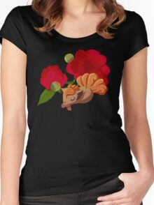 Vulpix with Peonies  Women's Fitted Scoop T-Shirt