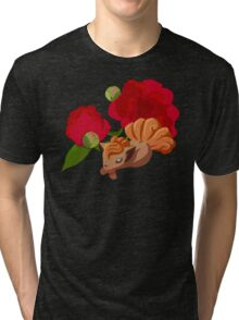 Vulpix with Peonies  Tri-blend T-Shirt