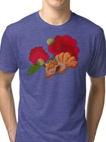 Vulpix with Peonies  Tri-blend T-Shirt