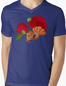 Vulpix with Peonies  Mens V-Neck T-Shirt