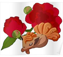 Vulpix with Peonies  Poster