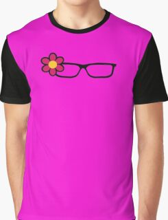 Geek Girl Black Glasses Pretty Colourful Flower Graphic T-Shirt
