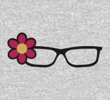 Geek Girl Black Glasses Pretty Colourful Flower Kids Tee