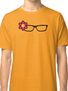Geek Girl Black Glasses Pretty Colourful Flower Classic T-Shirt
