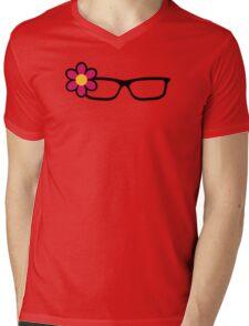 Geek Girl Black Glasses Pretty Colourful Flower Mens V-Neck T-Shirt