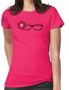 Geek Girl Black Glasses Pretty Colourful Flower Womens Fitted T-Shirt