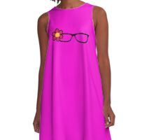 Geek Girl Black Glasses Pretty Colourful Flower A-Line Dress