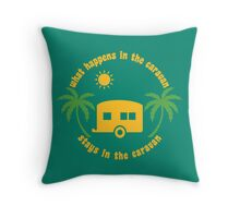 Funny Caravan Camping Trailer Park Glamping Joke Quote Throw Pillow