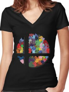SMASH COLORS! Women's Fitted V-Neck T-Shirt