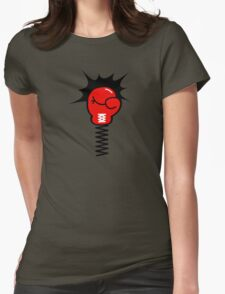 Comic Book Boxing Glove on Spring Pow Womens Fitted T-Shirt