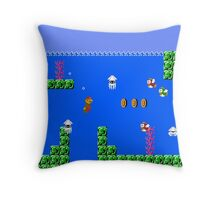 Mario Waterworld Throw Pillow