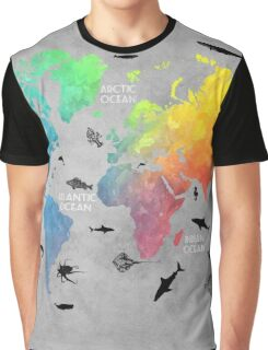 Map of the world grey Graphic T-Shirt