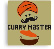 Funny Curry Master Indian Restaurant Chef Turban and Moustache Canvas Print