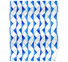 Bright blue watercolor rhombuses pattern  Poster
