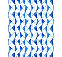 Bright blue watercolor rhombuses pattern  Photographic Print