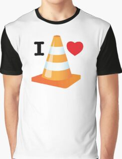 Traffic Cone Funny Driver Love Heart Design Graphic T-Shirt