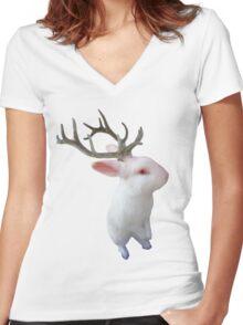 'Jackolope' Women's Fitted V-Neck T-Shirt
