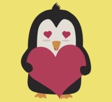 Penguin with a heart   One Piece - Short Sleeve