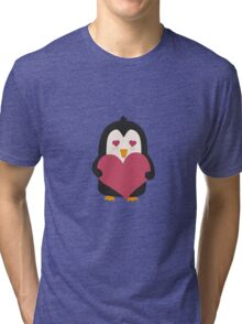 Penguin with a heart   Tri-blend T-Shirt