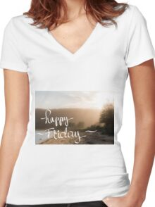 Happy Friday Greeting Women's Fitted V-Neck T-Shirt