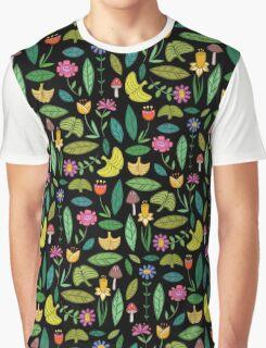 Flower Patch Dark Graphic T-Shirt
