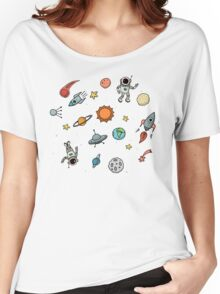 Outer Space Planetary Illustration Women's Relaxed Fit T-Shirt