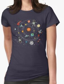 Outer Space Planetary Illustration Womens Fitted T-Shirt