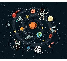 Outer Space Planetary Illustration Photographic Print