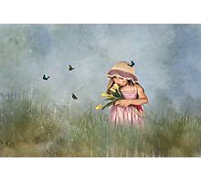 Carrying Tulips for You Photographic Print
