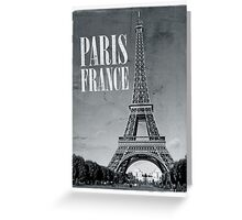 vintage eiffel tower black and white Greeting Card