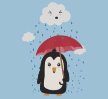 Penguin in the rain   Kids Tee