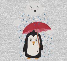 Penguin in the rain   One Piece - Short Sleeve