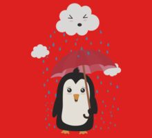Penguin in the rain   One Piece - Short Sleeve