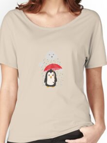 Penguin in the rain   Women's Relaxed Fit T-Shirt