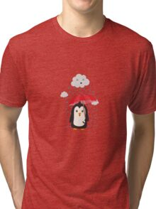 Penguin in the rain   Tri-blend T-Shirt