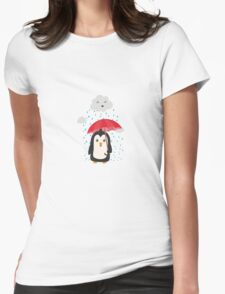 Penguin in the rain   Womens Fitted T-Shirt