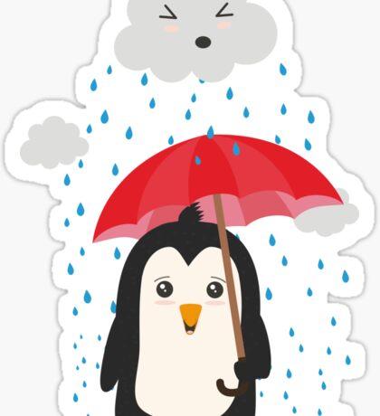 Penguin in the rain   Sticker