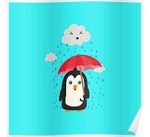 Penguin in the rain   Poster