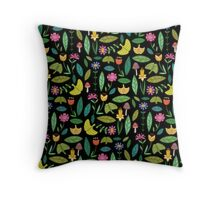 Flower Patch Dark Throw Pillow