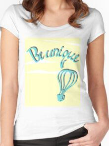 Hand drawn lettering: Be unique.  Women's Fitted Scoop T-Shirt