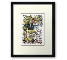 """The Illustrated Alphabet Capital  F  """"Getting personal"""" Framed Print"""